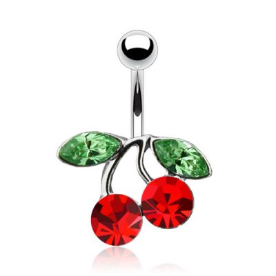 Piercing all'ombelico con ciliegie rosse