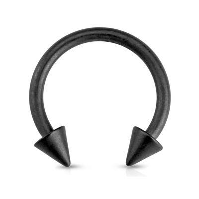 Ferro di cavallo nero opaco con punte